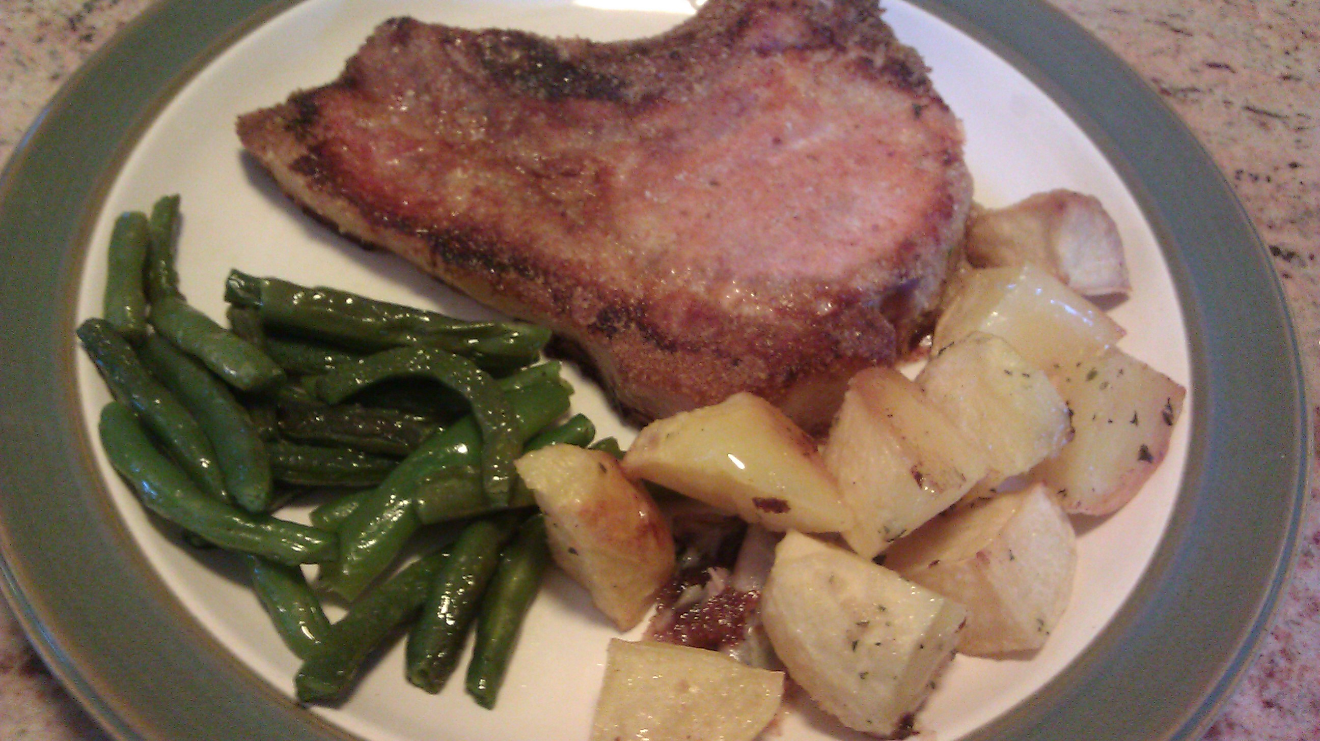 Not Quite a Recipe for Pork Chops with Roasted Potatoes and Green Beans