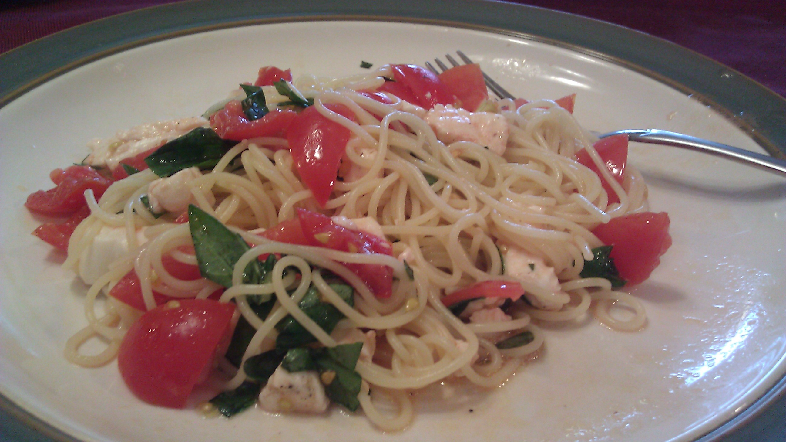 Angel Hair with Tomatoes, Mozzarella, and Basil