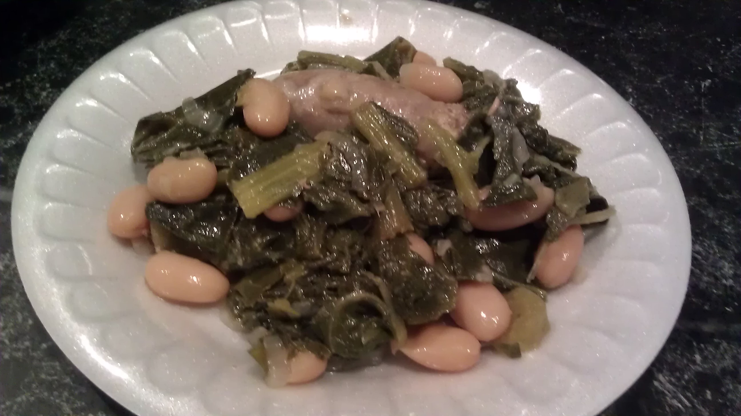 Sausage with Beans and Greens
