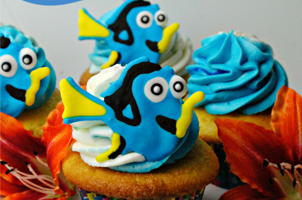 Finding Dory Theme Lemon Cupcakes