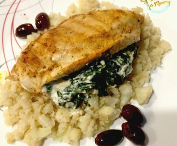 Spinach and Feta Stuffed Chicken over Cauliflower